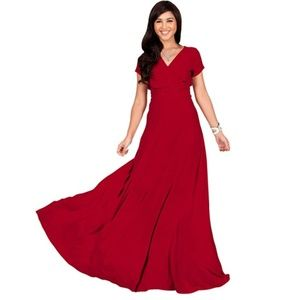 Sexy Cap Short Sleeve V-Neck Flowy Cocktail Gown